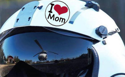 "Flight Helmet with ""I Love Mom"" sticker"